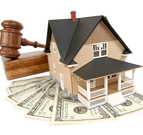House being sold at an auction; isolated on white